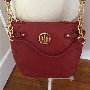 Tommy Hilfiger Red Leather Sadie Crossbody Bag
